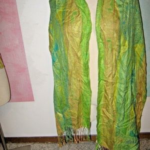 Green Blue Gold Metallic Fringe Scarf FREE SCARF!
